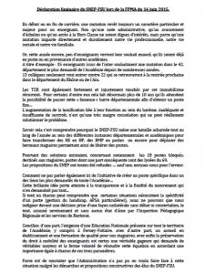 Mut 2015 Déclaration liminaire du SNEP 16 juin 2015
