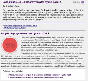 Consultation sur les Programmes des cycles 2, 3 et 4